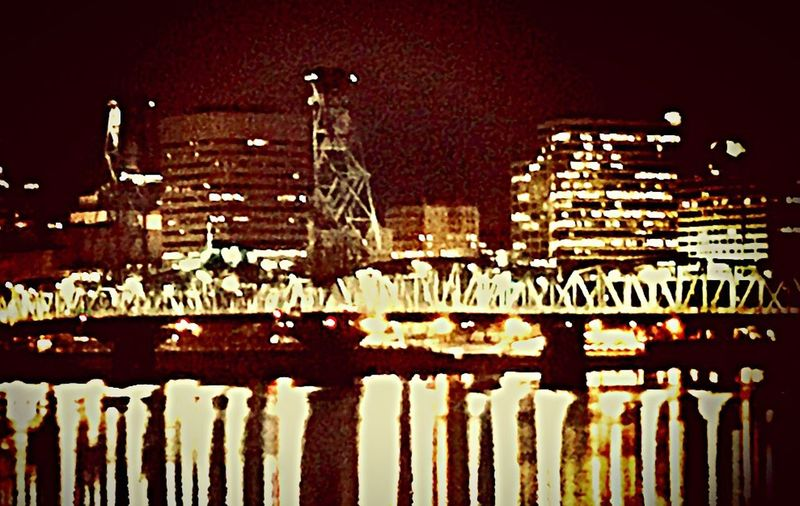 Showcase April Reflections sparkle against the black waters. Portland Night OMSI OMSI Dock Waterfront Portland, OR Night Light Photography Willamette River  Drawbridge  From Afar Lights Night Beauty