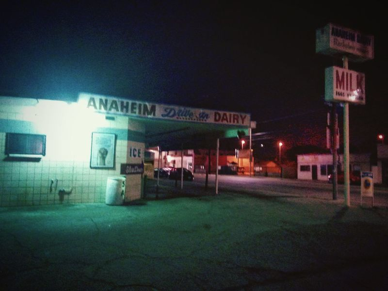 Vintage Style Drive Through Dairy In The City Port Of Los Angeles After Midnight Urban Landscape Night Photography Street Photography Nightscape