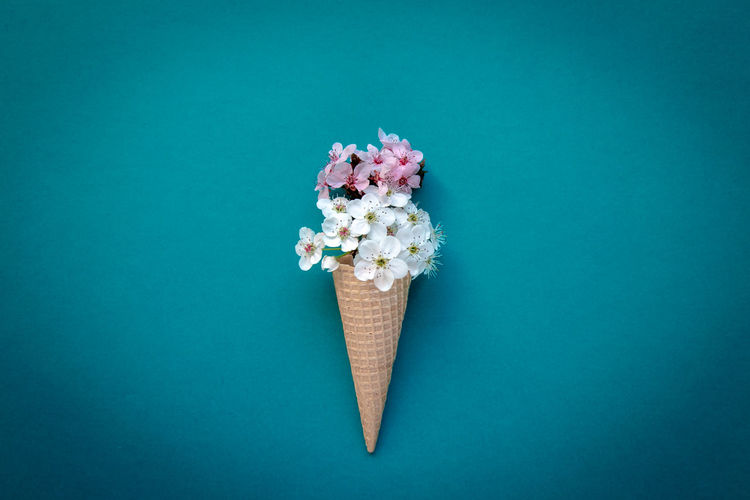 Directly above shot of ice cream against blue background