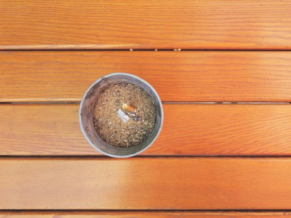 Addiction Ashtray  Bad Habit Bucket Cigarette  Day Directly Above High Angle View No People Outdoors Sand Still Life Table Wood Wood - Material