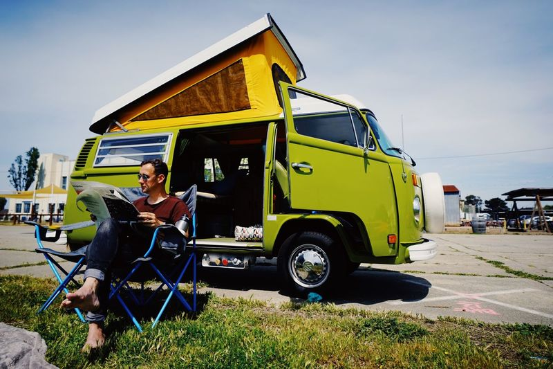 Happy Camper Camping VW Bus Sky Mode Of Transportation Land Vehicle Transportation Real People Nature Day