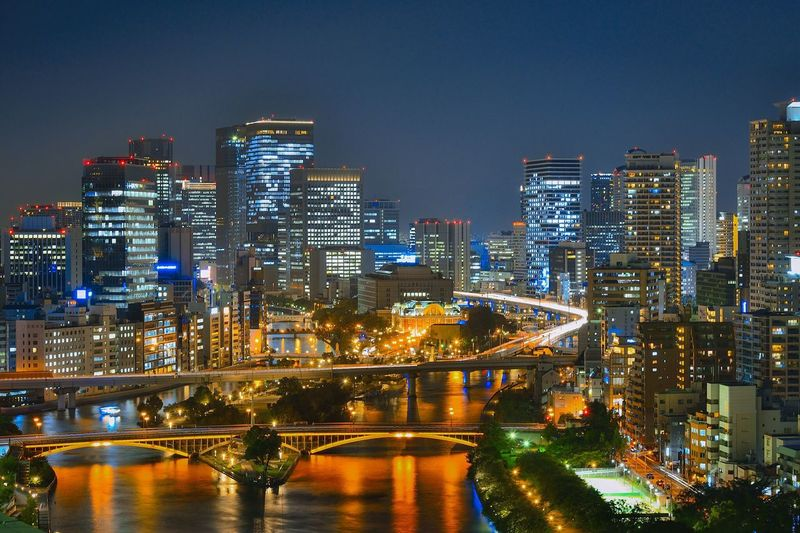 OSAKA ILLUMINATED SKYLINE AT NIGHT
