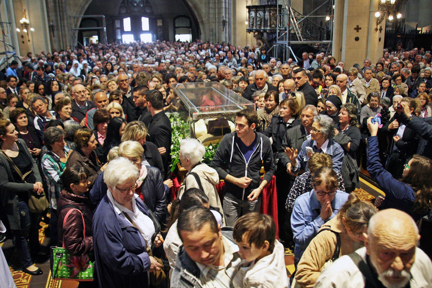 Welcome of St.Leopold Mandic's body in Zagreb,relics and believers,17,Croatia,EU,2016. Believers Body Cathedral Croatia Eu People Pilgrimage Pilgrims Saint Sarcophagus St.Leopold Bogdan Mandic Welcome Zagreb