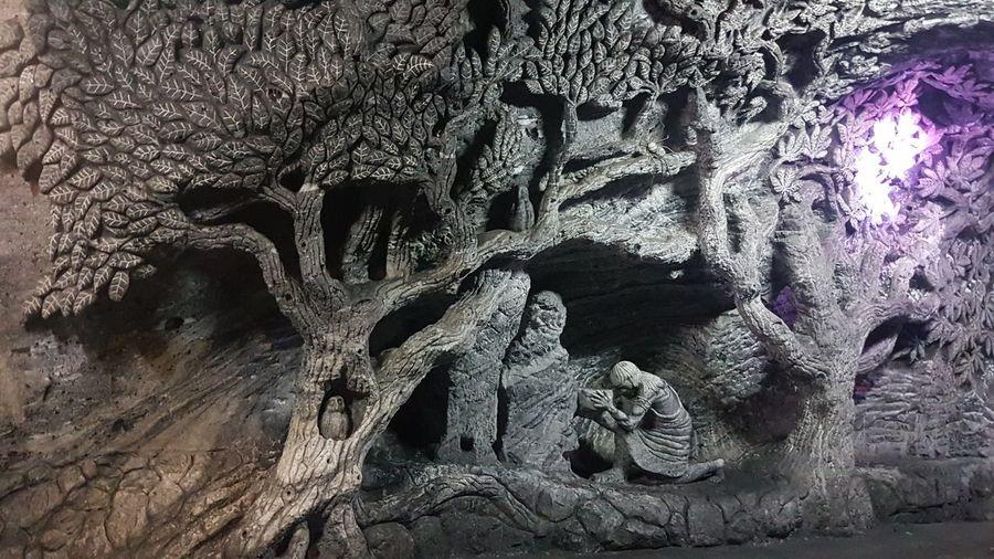 Graffiti on tree trunk against wall