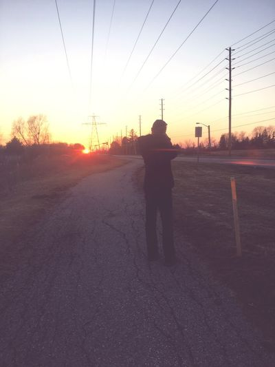 Sunset Silhouette Sky Two People Street Nature Outdoors Road First Eyeem Photo