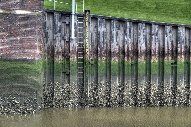 Tide Gate Ebbe Und Flut Built Structure Grass Green Color Nordsee Northsea Reflection Sea Siel Tide Tide Gate Water
