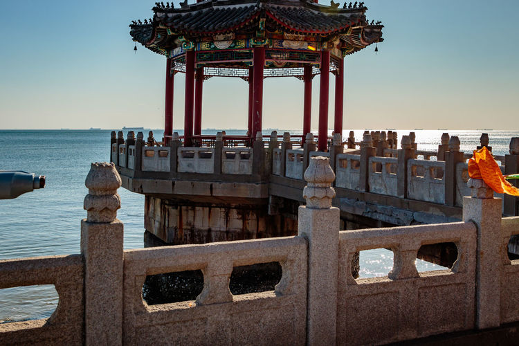 Ancient Architecture Castle Great Wall Hebei Sunlight Tourist Travel Archaeological Attraction Building China Chinese Fortification Historic History Landmark Military Qinhuangdao Sea Shanhaiguan Site Sky Structure Temple