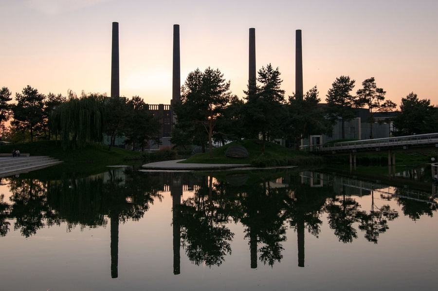 Autostadt Chimneys EyeEm Eyeemphotography Factory From My Point Of View Industrial Industrial Photography Industry Mirror Mirror Reflection Nature No People Outdoors Reflection Sky Standing Water Sunset Tranquil Scene Tree Volkswagen Water