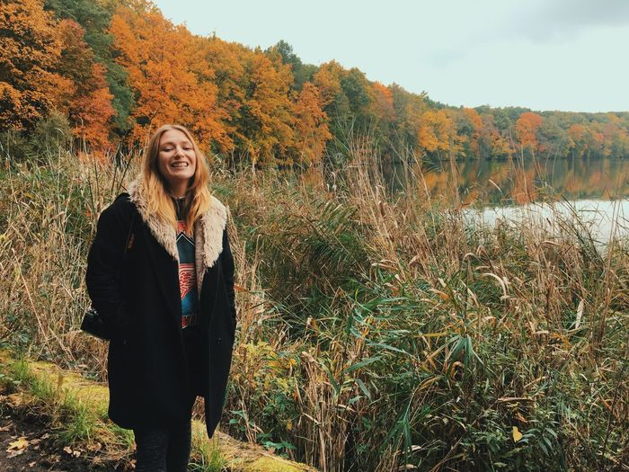 Looking At Camera Portrait Real People Redhead One Person Field Grass Tree Lifestyles Standing Smiling Autumn Nature Front View Young Adult Leisure Activity Happiness Outdoors Person Young Women