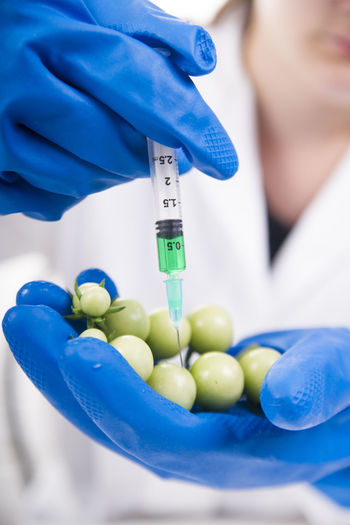 Midsection of doctor injecting chemical in fruit