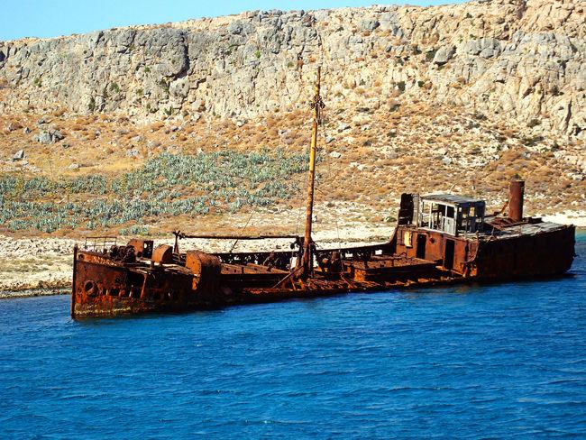 Greece Crete Balos Beach Abandoned Iron Oxide Boat Relitto Relict Sea Blue Inquinamento Man Vs Nature