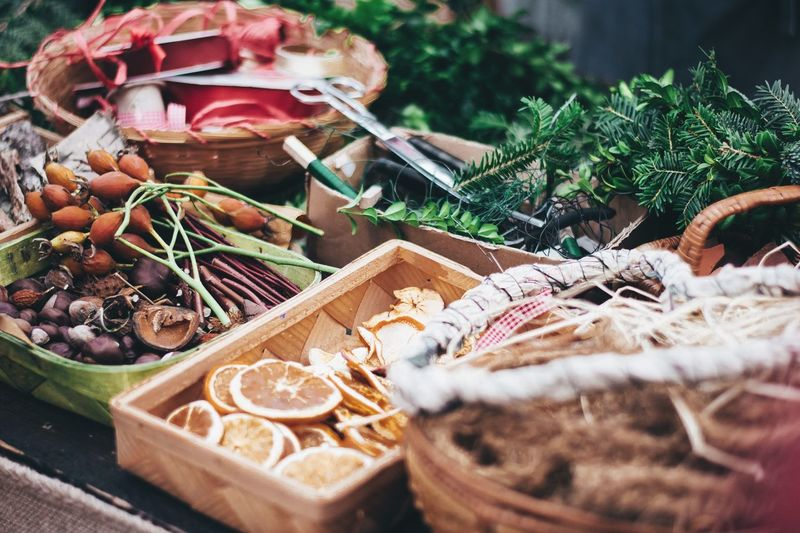 Christmas Market Christmas Christmas Decoration EyeEm Selects Basket Food Healthy Eating No People Indoors  Herb Day Freshness Close-up Nature