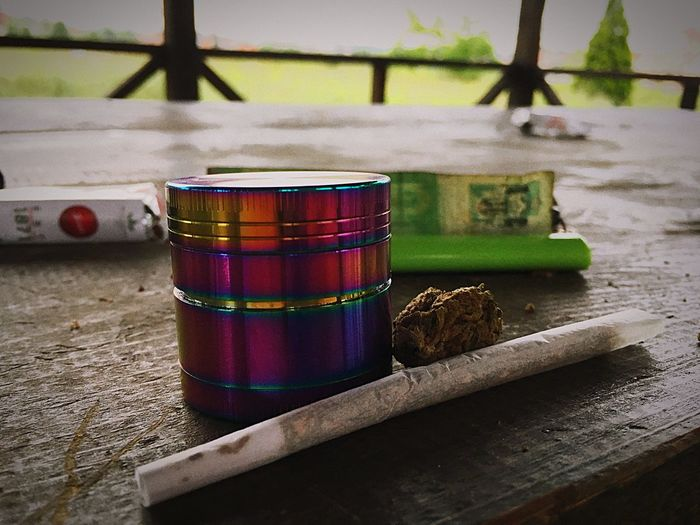 Park Bud Joint Grinder Outdoors Weed Multi Colored Close-up