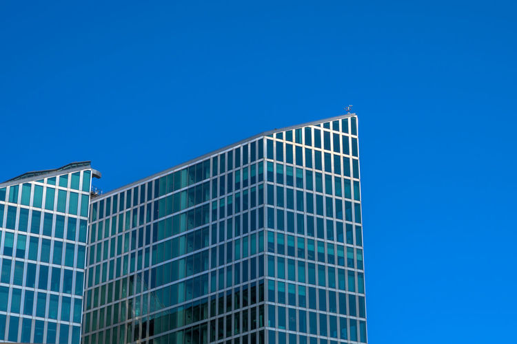 Go-west-photography.com Built Structure Architecture Sky Building Exterior Blue Clear Sky Low Angle View Copy Space Modern Building Office Building Exterior City Day No People Nature Office Glass - Material Outdoors Sunlight Tall - High Skyscraper Turquoise Colored