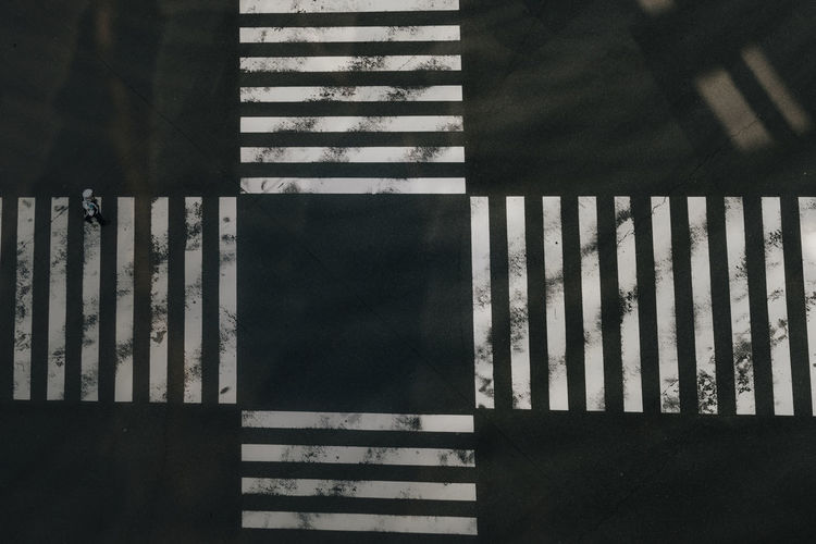 High Angle View Of Zebra Crossings In City