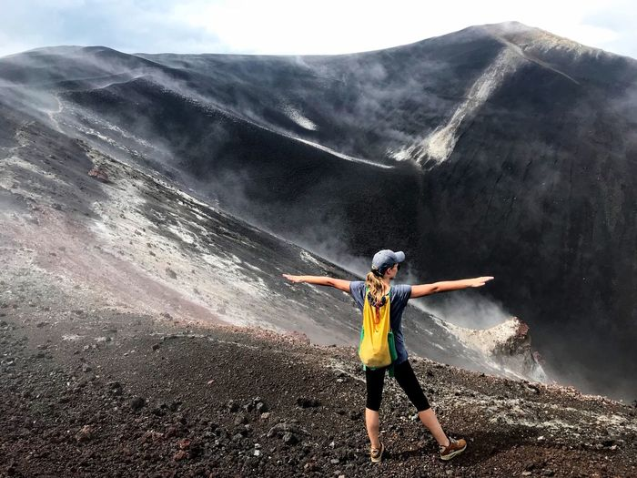 Adventure Motion Hiking Landscape Activity Mountain Range Scenics Volcano Crater Energetic Standing Power In Nature Hiking Crater Women Determination Lava Field Volcanic Rock Volcanic Landscape Nicaragua Cerro Negro Adrenaline Junkie Exploration Extreme Sports Foggy Morning Volcanic Crater