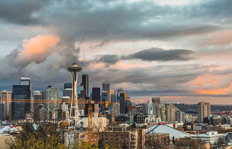Seattle Skyline at sunset from Kerry Park. Seattle Seattle, Washington Skyscraper Cityscape City Travel Destinations Sunset No People Storm Cloud Outdoors Architecture Urban Skyline Kerry Park Downtown First Eyeem Photo Spaceneedle EyeEmNewHere EyeEmNewHere