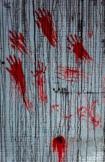 Red Blood No People Stained Backgrounds Full Frame Wood - Material Close-up Violence Aggression  Crime Splattered Paint Water Crime Scene Pattern Fear Indoors  Day Human Blood Mural Art