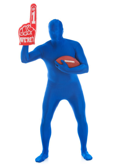 Humorous images of an anonymous male in a blue bodysuit in various poses. Anonymous Blue Man Football Funny Humor Isolated Man Ball Blue Bodysuit Fan Isolated White Background Male Morphsuit Person Spandex Sport Sports White Background