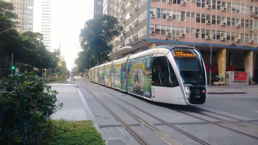 VLT Carioca City Public Transportation Tree Train - Vehicle Railroad Track Rail Transportation City Street City Life Architecture Sky Tramway Track Locomotive Train The Art Of Street Photography