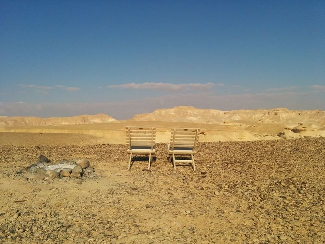 Beauty In Nature Blue Couple Day Desert Idyllic Israel Landscape Love Nature No People Non-urban Scene Outdoors Romantic Sand Scenics Sky Tranquil Scene Tranquility Wood - Material