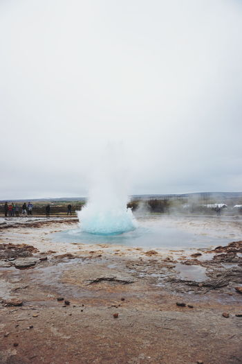 Geysir, Iceland Advent Beauty In Nature Day Erupting Geyser Geysir Geysir Hot Springs Hot Spring Hot Springs Iceland Iceland Memories Iceland Trip Iceland_collection Motion Nature No People Outdoors Power In Nature Sky Water The Great Outdoors - 2017 EyeEm Awards