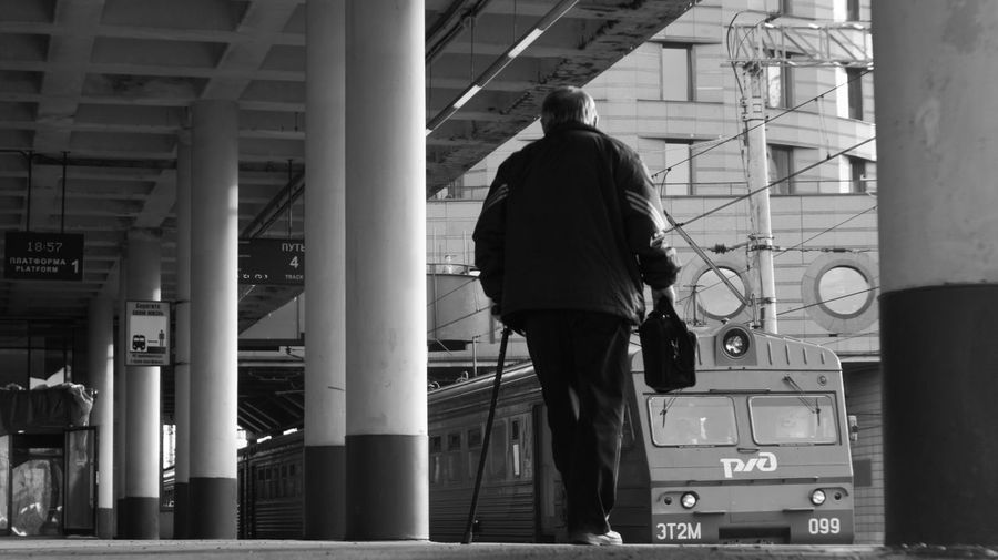 To the country Architecture Built Structure Lifestyles Men One Person Only Men Railroad Station Platform Railway Real People Rear View