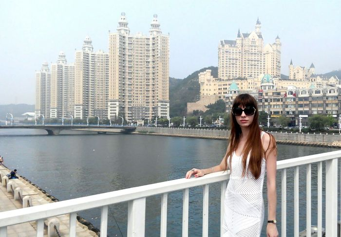 Ladyinwhite Stylish Beautiful Girl People City View  Xinghai ASIA China Beautiful View Travelling Dalian City In Dalian China, Dalian