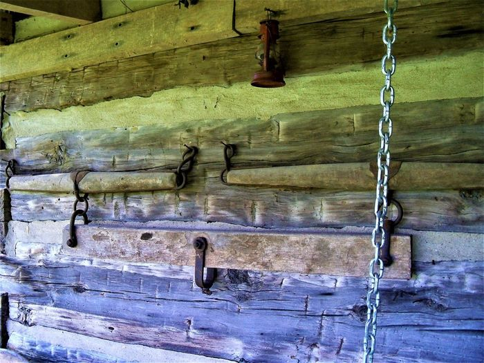 Antique Horse Drawn Farming Equipment Antique Farm Life Indiana Architecture Building Exterior Built Structure Cabin Chain Close-up Day Farming Equipment Hanging Horse Drawn Horse Tree Logs Metal Nature No People Old Outdoors Pattern Wall Wall - Building Feature Weathered Wood - Material