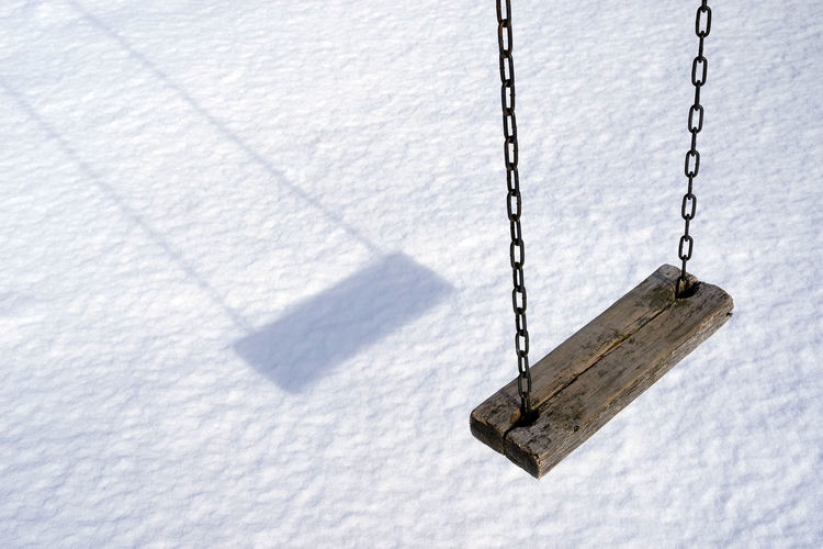 High angle view of swing in winter
