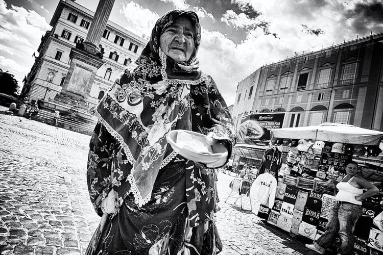 The Human Condition Elderly woman begging a handout. Homelessness  Beggar Begging Poverty