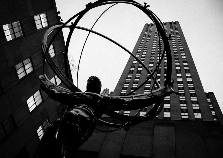 Urban Architecture City Life New York New York City Built Structure Low Angle View Building Exterior Day Outdoors Building Metal Sculpture Statue
