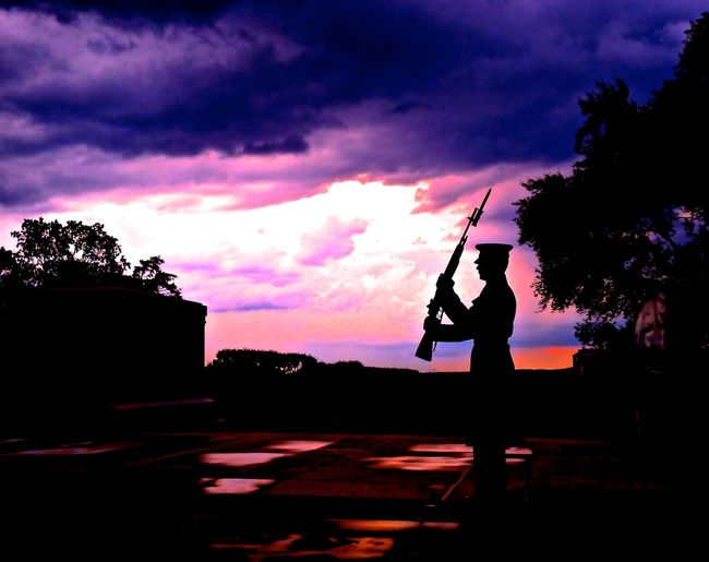 Tomb of the Unknown Soldier - Arlington National Cemetary, Virginia. Shot with iPhone and used iPhoto adjust effects only Soldier Tomb Of The Unknown Soldier Arlington National Cemetary Honor Patriotic Silhouette Red White Blue