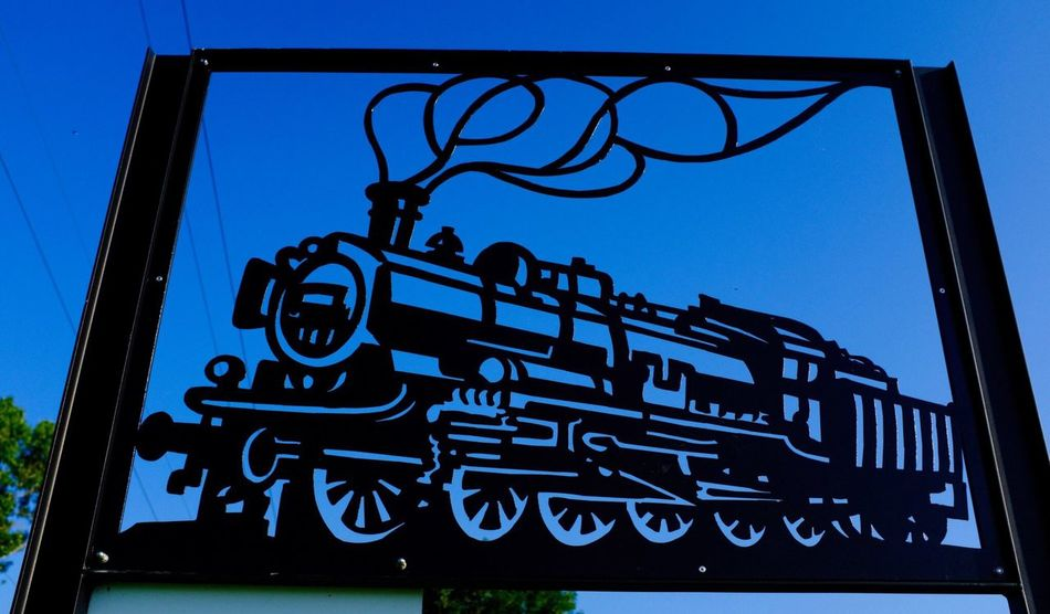 Locomotive Engine Sky No People Clear Sky Day Low Angle View Blue Nature Sky No People Clear Sky Day Low Angle View Blue Nature Metal Sign Silhouette Creativity