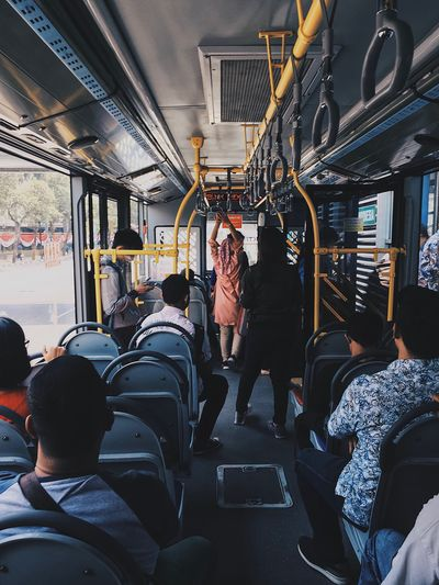 People traveling in train
