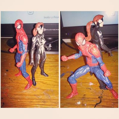 Father and daughter unite! Fuckingawsome Spiderwoman Spiderman Marvel Marvellengends Figurecollecting Figures Sohappy Motivated Geekingout Spiderblood