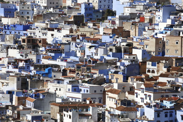 High angle view of buildings in city, chefchaouen morocco