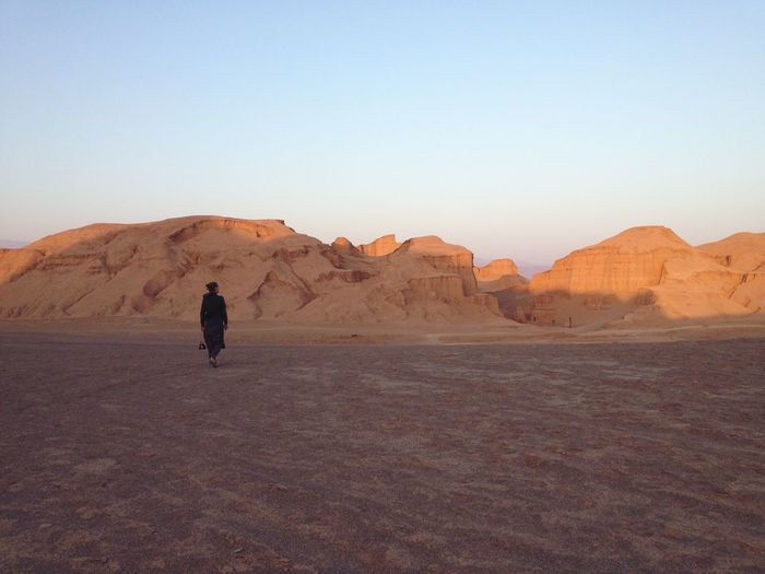 Rear View Of Woman Standing On Arid Landscape