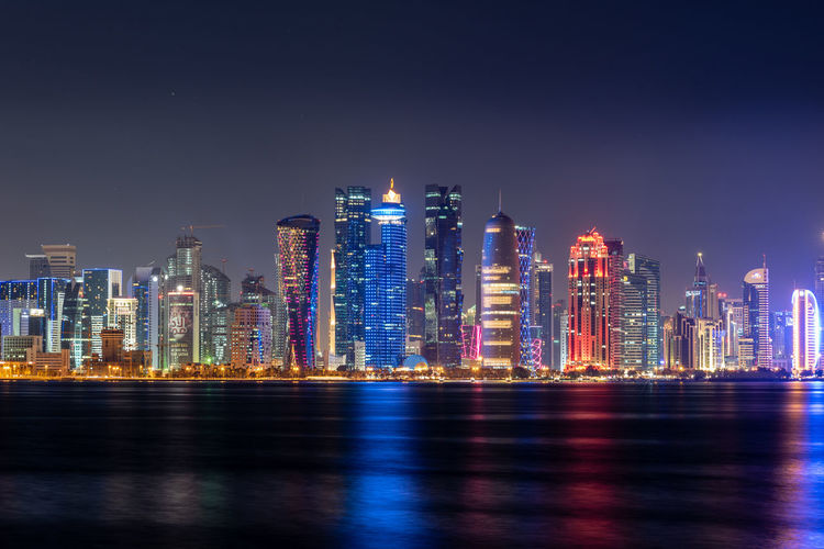 Doha skyline illuminated at night