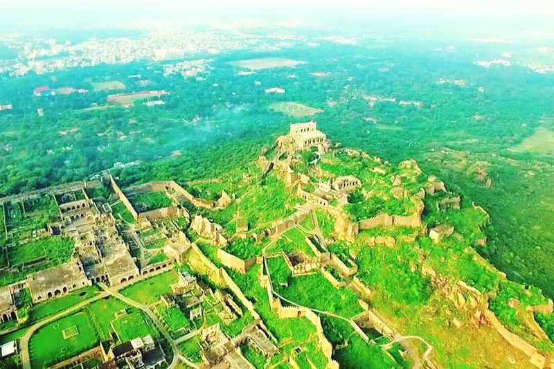 Famous Golkonda fort Hyderabad Aerial View Travel Destinations Nature Journey Green