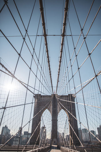 Brooklyn Bridge, New York City New York City Brooklyn Bridge / New York Built Structure Architecture Sky Bridge Bridge - Man Made Structure Tourism Suspension Bridge Connection Travel Destinations Engineering Low Angle View Travel Transportation Building Exterior City Nature Day Steel Cable Arch Outdoors Modern Office Building Exterior Skyscraper