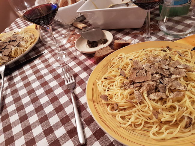 Table Food And Drink Indoors  High Angle View Still Life No People Tablecloth Food Close-up Truffles Black Truffles Wine Freshness Italy❤️