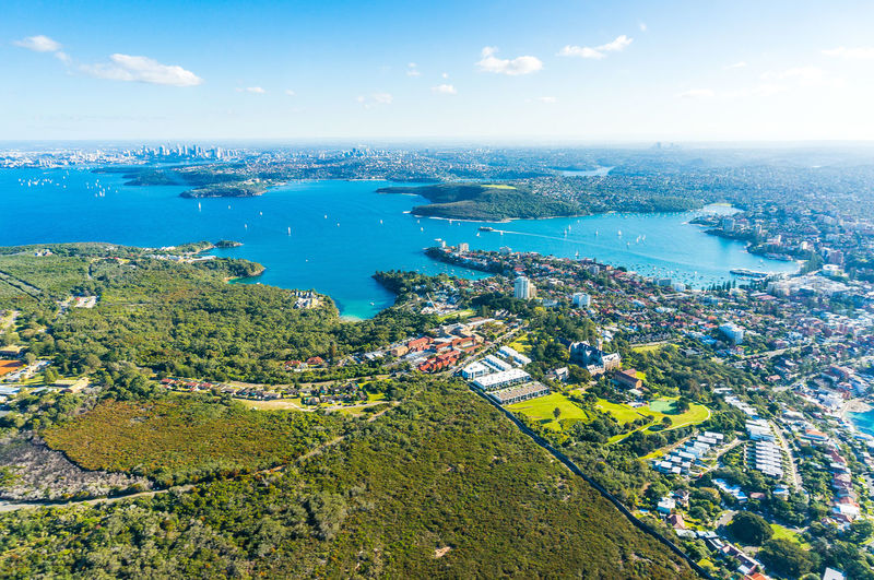Aerial view Sydney Bay. View on Sydney harbourside suburbs from above. Aerial view on Sydney harbourside, Sydney CBD, Manly, Parramatta and Sydney Harbour National Park Aerial Photography Aerial Shot Aerial View Architecture City Cityscape Cityscape High Angle View Manly  Parramatta Scenics Sydney, Australia Travel Destinations Urban