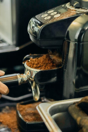 Close-up of coffee beans in kitchen