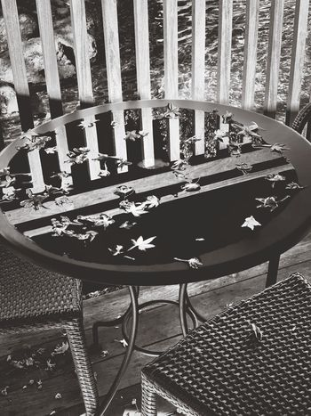 """""""The Aftermath"""" A rainstorm leaves a puddle of water on a table at a local coffee shop, creating a final swimming hole for fallen autumn leaves. Fall Leaves Fallen Leaves Rain Puddle  Puddle Blackandwhite Black & White Blackandwhite Photography Black And White Photography No People Seat Chair Absence Empty Pattern Table Outdoors"""