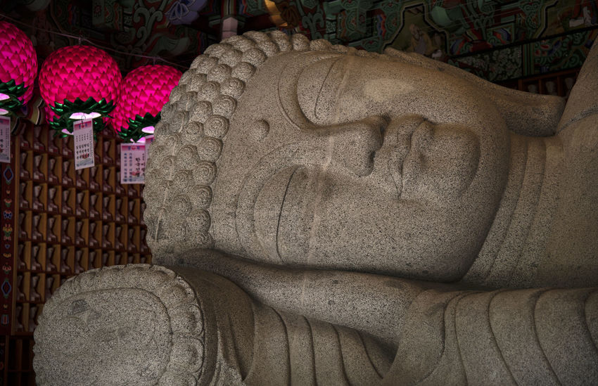 view of Bomunsa, a famous Buddhism temple at Seokmodo in Ganghwado, Kimpo, Gyeonggido, South Korea Bomunsa Buddhism Temple Seokmodo South Korea A Architecture Art And Craft Belief Buddhism Carving Carving - Craft Product Close-up Craft Creativity Ganghwado Human Representation Indoors  Male Likeness No People Pattern Religion Religious  Representation Sculpture Solid Spirituality Statue Stone Stone Material Temple