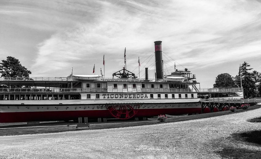 The beautiful Ticonderoga, one of only 2 remaining paddle boats left. Historic preservation at its best. Old Preservation Vermont_landmark Summer Memories... Interesting Places Imposing Antique Educational Museum Things I See Restored Vermont On Land Beautiful Black And White History Through The Lens  Historic Preservation Touch Of Red Paddle Boat Boat Cloud - Sky Transportation Sky Mode Of Transportation Nautical Vessel Nature Ship Industry Day Built Structure