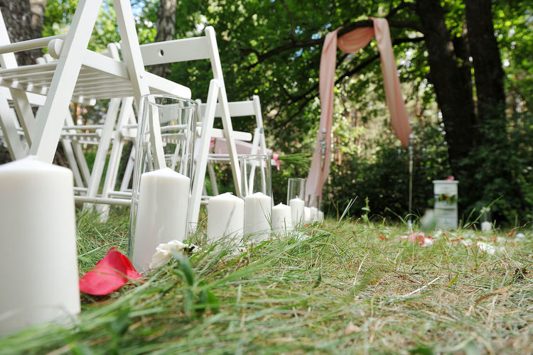 Close-up of chairs in yard