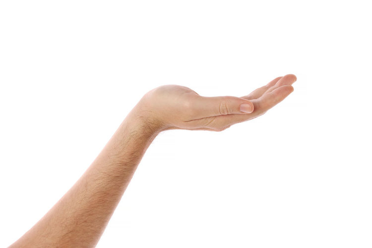 Arms Raised Body Part Close-up Copy Space Cut Out Finger Gesturing Hand Hand Sign Human Arm Human Body Part Human Finger Human Hand Human Limb Indoors  Men One Person Pointing Showing Studio Shot Unrecognizable Person White Background