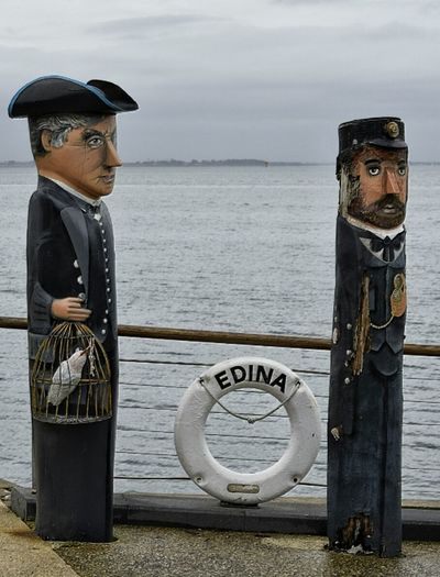 Carved Wood Wooden Carving Australia Charicature Eye4photography  Tourist Attraction  Melbourne Geelong Victoria Sailor Wooden Sculpure Characters Carving In Wood Captain First Mate Painted Wood Outside Different Face Wooden Statue Character Design  Character Uniform People